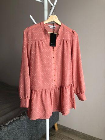 Nowa bluzka baskinka Reserved falbanka pudrowy róż 34 XS