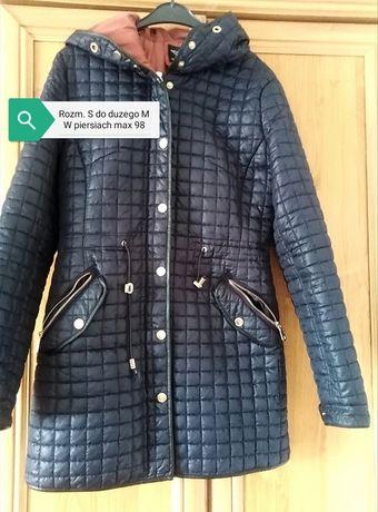 Damska kurtka płaszcz płaszczyk granatowy pikowany z kapturem IDEALNY