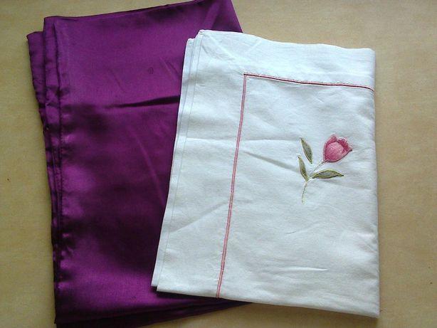 Наволочка на подушку (с вышивкой в розово-фиолетовых тонах) набор 2 шт