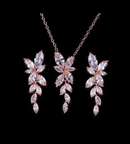 Komplet łańcuszek i kolczyki na prezent biżuteria ślubna