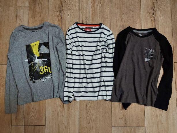 3szt bluzki t-shirty z długim rękawem r. 122/128 6-8l.