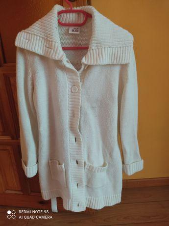 Kardigan sweter biały 46