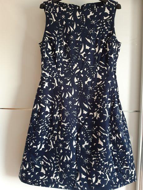Nowa oryginalna sukienka damską r.40 biało granatowa