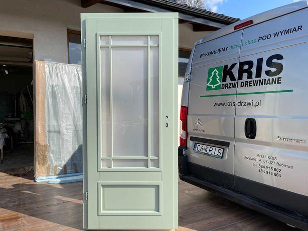 Drzwi wewnętrzne drewniane zielone SZPROS FRANCUSKI CAŁA POLSKA