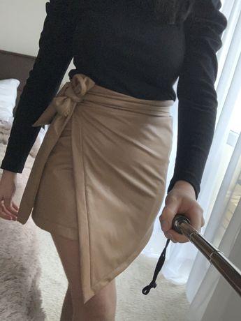 Spódnica eko skóra Xana Zara bezowa asymetryczna sexi wiazana uni