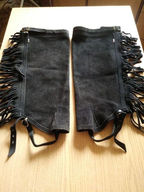 Sztylpy / półczapsy czarne zamszowe z frędzlami XL