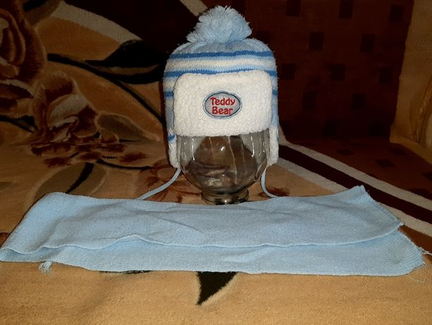 Комплект (шапка, шарф) для мальчика 4-6 лет.