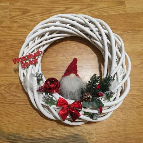 Wianek świąteczny na drzwi ręcznie wykonany 30 cm