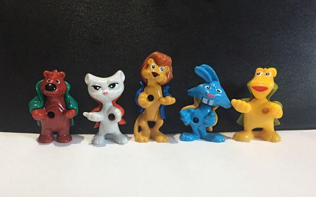 Звери детективы киндер ландрин фигурки игрушки животные заяц лев кот