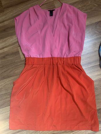 Letnia sukienka H&M cudna M/L różowa czerwona kieszenie dekolt
