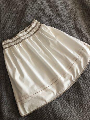 Trapezowa spódnica Reserved rozkloszowana biała ecru boho 38 M
