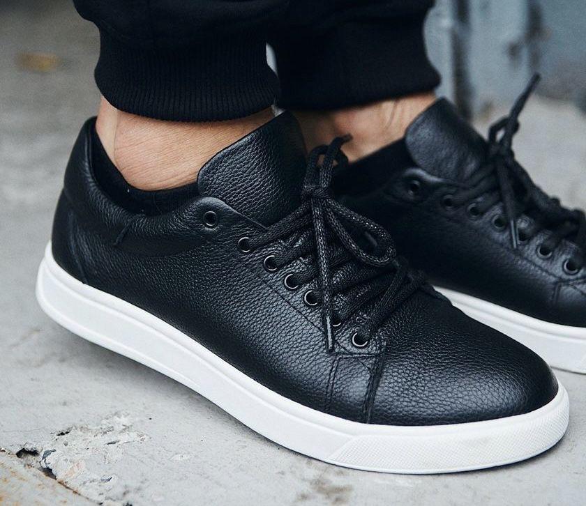 РАСПРОДАЖА! Мужские кроссовки из натуральной кожи кеды на шнурках