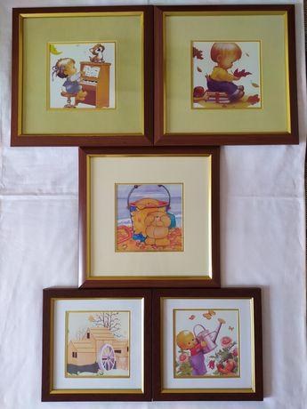 Картины детские набор из 5 картин счастливое детство