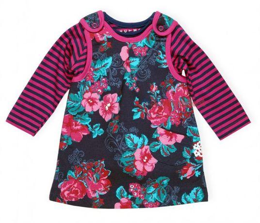 sukienka 74 ciepła Nutmeg princeska ocieplana bluzeczka komplet