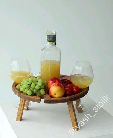 Винний столик ручної роботи із дуба