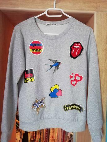 Szara bluza z kolorowymi aplikacjami