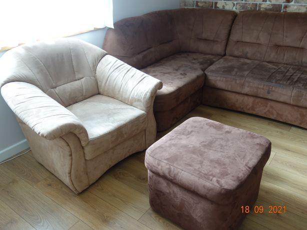 Brązowy Narożnik sofa komplet Agata fotel pufa
