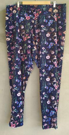 dresowe spodnie welurowe w kwiatki H&M XL