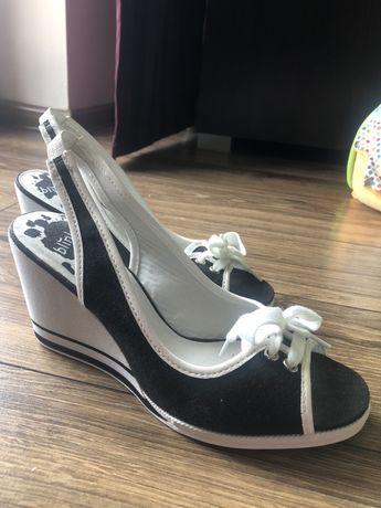 Buty sandaly 37 koturna sznurowane 38 sznurówki paski klapki