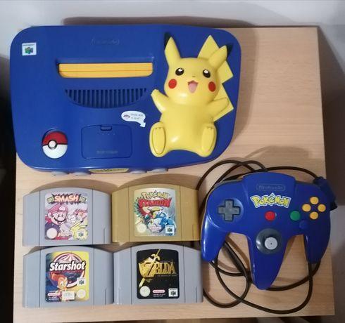 Nintendo 64 [Pikachu Edition] + Pokémon, Smash, Zelda