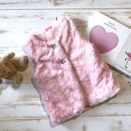 Нежно-розовый меховой жилет Couture, 18-24 мес