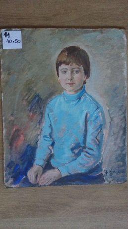Obraz Chłopiec olej na dykcie sygnowany stary