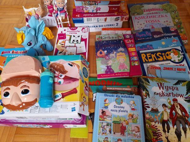 MEGA PAKA zabawki dla dzieci, puzzle, play doh, Masha, książeczki
