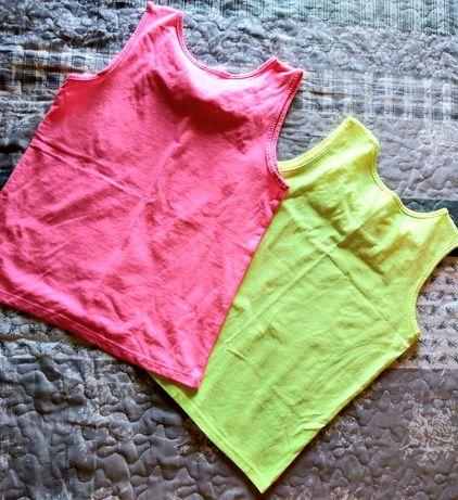 Dwie neonowe bluzeczki C&A dla dziewczynki na 134 cm.