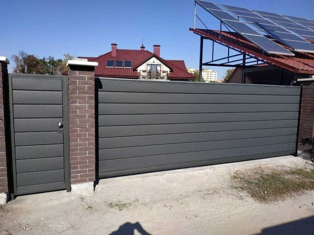 Ворота откатные / раздвижные ворота, фурнитура с ламелями Горизонт