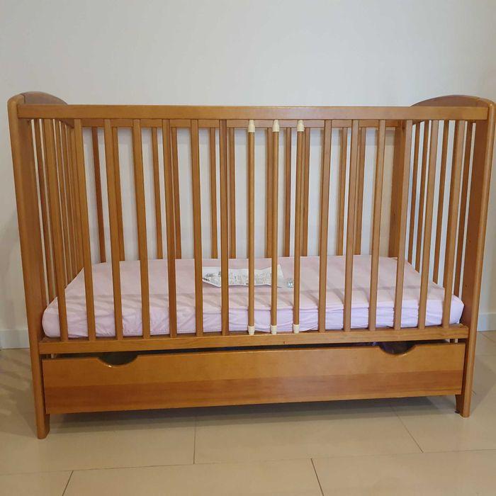 łóżko dziecięce drewniane 120x60cm z szufladą i materacem Aleksandria Druga - image 1