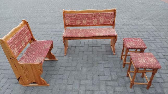 Ławki tapicerowane + dwa taborety