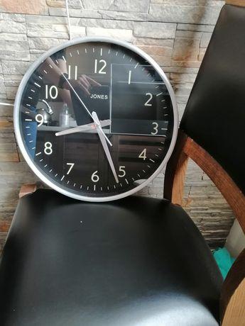Zegar ścienny czarno srebry
