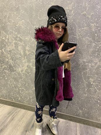 Парка куртка для девочки 122-128 см,с натуральным мехом