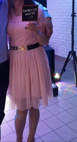 Sukienka pudrowy róż koronka i tiul rozm M