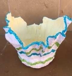 Vasos decorativos de cimento e tecido