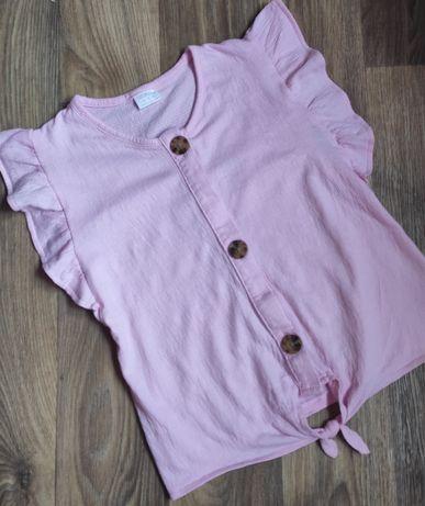 Летняя блузка с большими пуговицами футболка рубашка на 9-10 лет