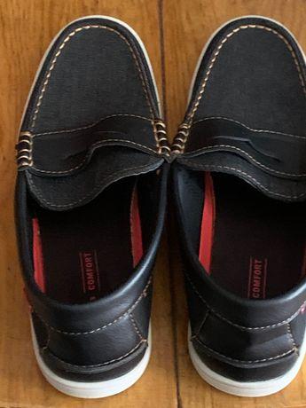 Туфли мужские с верхом из джинсовой ткани