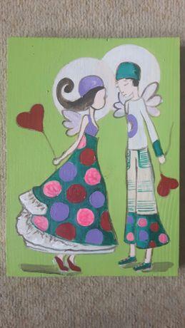 Anioł Spełnienia Nadziei obraz malowany ręcznie na drewnie desce