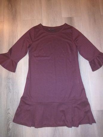 Sukienka bordowa melanż wiosna/jesień ozdobny rękaw