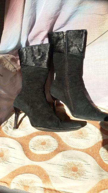 сапоги сапожки полусапожки ботинки зимние замш теплые 38-39 размер