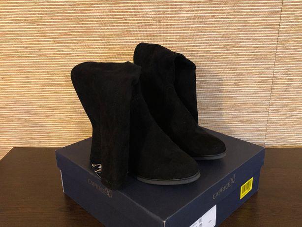 Buty Caprice damskie kozaki r. 37 Czarne zamszowe obcas 5cm