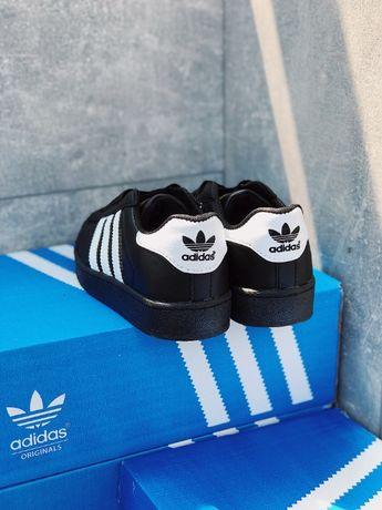 Топ Кроссовки черные Adidas Superstar Black Адидас Суперстар белые