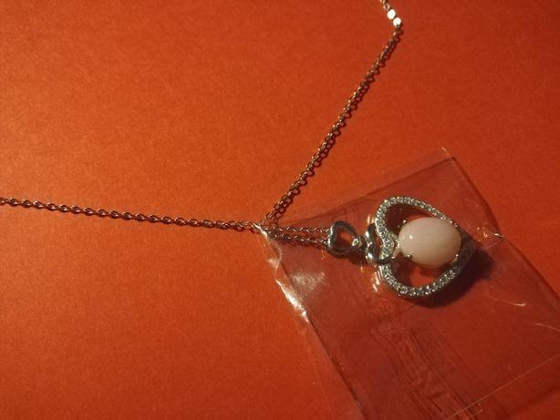 Naszyjnik ze srebra 925 z kamieniem Opal + certyfikat