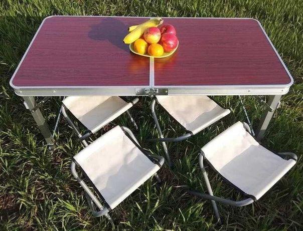 Разные цвета: Стол для пикника усиленный + 4 стульчика