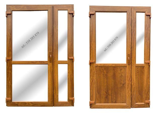 Drzwi zewnętrzne PCV 140x210 złoty dąb NOWE! OD REKI sklepowe biurowe