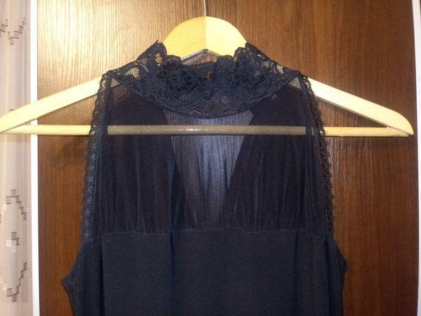 Elegancka, długa, czarna sukienka z koronkową góra, rozmiar 38