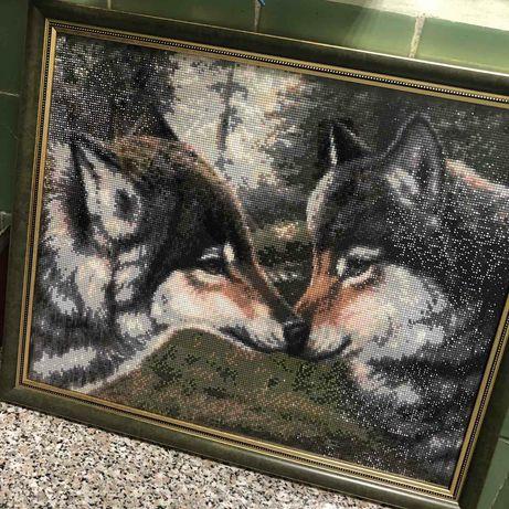 """Готовая алмазная картина """"Влюблённые волки"""""""