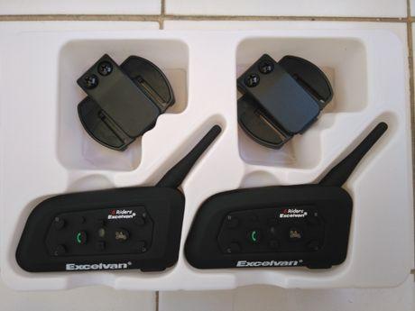 2-Auriculares/intercomunicadores Bluetooth p/ capacete, motas,( NOVOS