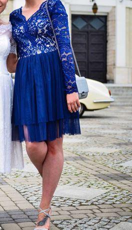 Kobaltowa sukienka wieczorowa, z tiulem