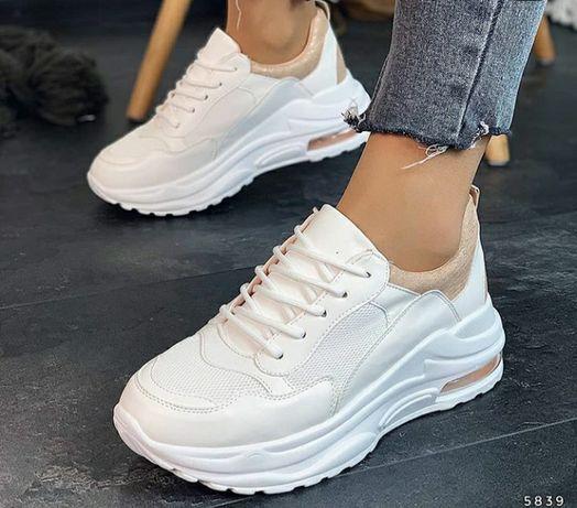 Кроссовки белые с пудровым 36-40 новые вналичии,кеды,макасины,криперы,